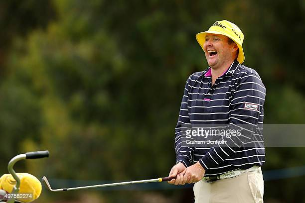 Jarrod Lyle of Australia laughs during the ProAm ahead of the 2015 Australian Masters at Huntingdale Golf Course on November 18 2015 in Melbourne...
