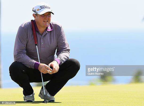 Jarrod Lyle of Australia lines up a putt during day one of the Fiji International at Natadola Bay Golf Course on October 6 2016 in Natadola Fiji
