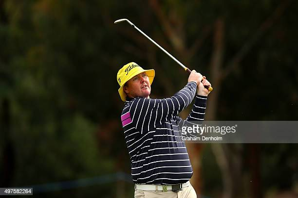 Jarrod Lyle of Australia plays a shot from the fairway during the ProAm ahead of the 2015 Australian Masters at Huntingdale Golf Course on November...