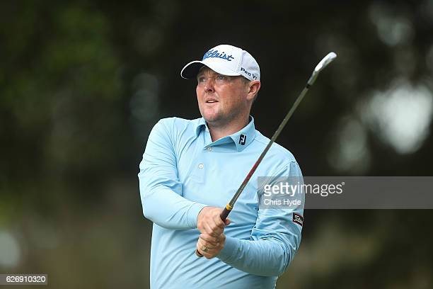 Jarrod Lyle of Australia plays a tee shot during day one of the 2016 Australian PGA Championship at RACV Royal Pines Resort on December 1 2016 in...