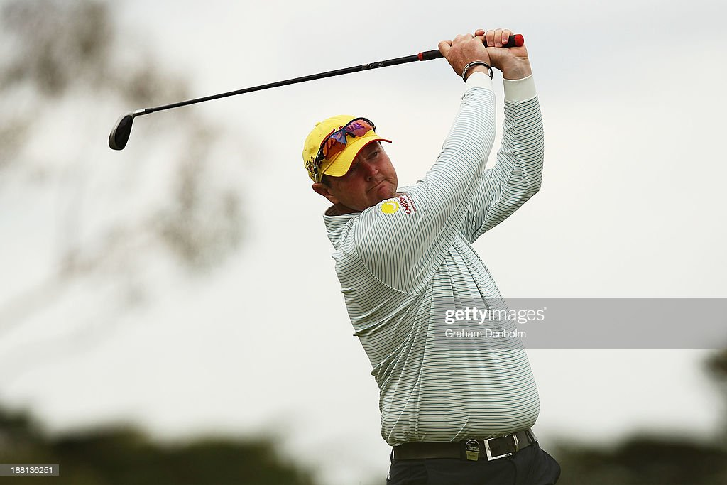 Jarrod Lyle of Australia plays an approach shot during round three of the 2013 Australian Masters at Royal Melbourne Golf Course on November 16, 2013 in Melbourne, Australia.