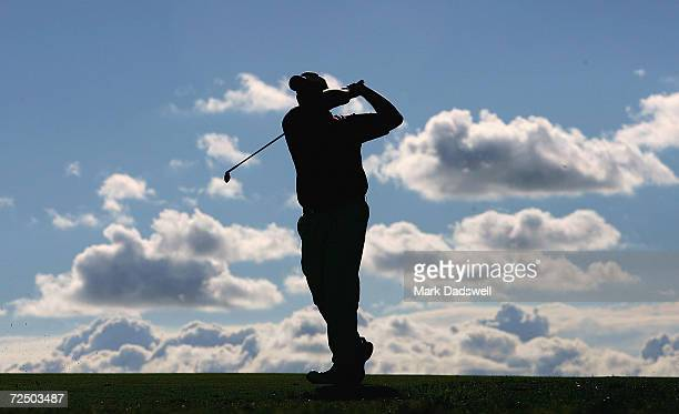 Jarrod Lyle of Australia plays his second shot on the 16th during day two of the 2005 Heineken Classic at the Royal Melbourne Golf Club February 4...