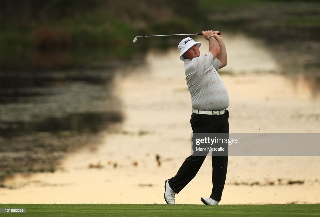 Jarrod Lyle of Australia plays his second shot on the 1st hole during day one of the 2011 Emirates Australian Open at The Lakes Golf Club at The Lakes Golf Club on November 10, 2011 in Sydney, Australia.