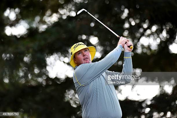 Jarrod Lyle of Australia plays his shot from the 11th tee during the first round of the Fryscom Open at the North Course of the Silverado Resort and...