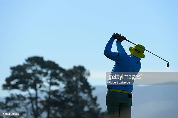 Jarrod Lyle of Australia plays his tee shot on the fifth hole during round three of the ATT Pebble Beach National ProAm at the Pebble Beach Golf...