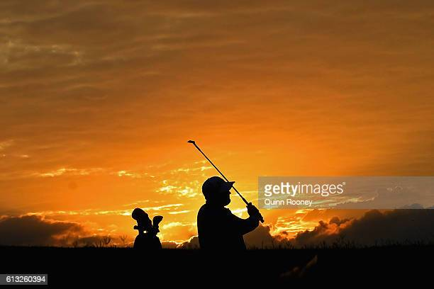 Jarrod Lyle of Australia plays out of the bunker as he warms up on day two of the 2016 Fiji International at Natadola Bay Golf Course on October 7...