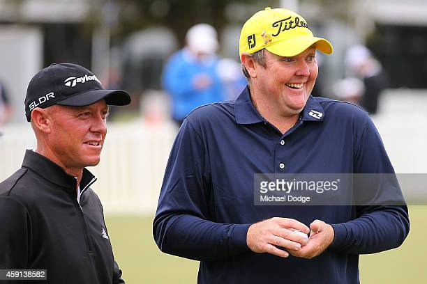 Jarrod Lyle of Australia reacts at the practice green ahead of the 2014 Australian Masters at The Metropolitan Golf Course on November 18 2014 in...
