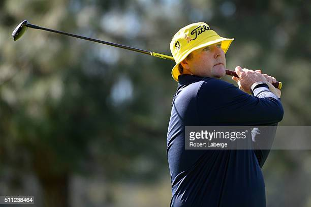 Jarrod Lyle of Australia takes his shot on the 11th hole during round one of the Northern Trust Open at Riviera Country Club on February 18 2016 in...