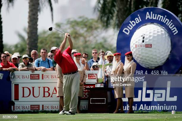 Jarrod Lyle of Australia tees off at the 1st during the final round of the 2005 Dubai Desert Classic on the Majilis Course at the Emirates Golf Club...