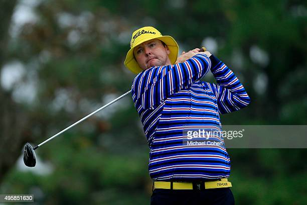 Jarrod Lyle of Australia tees off on the second hole during the first round of the Sanderson Farms Championship at The Country Club of Jackson on...