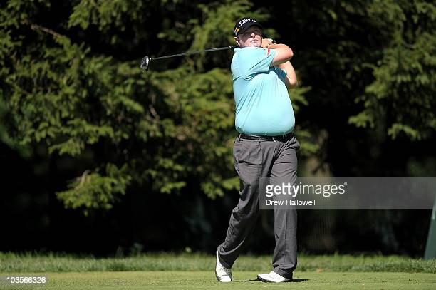 Jarrod Lyle watches his tee shot on the fourth hole during the second round of the AT&T National at Aronimink Golf Club on July 2, 2010 in Newtown...