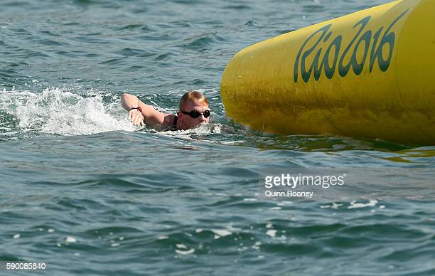 Jarrod Poort of Australia competes in the Men's 10km Marathon Swim on Day 11 of the Rio 2016 Olympic Games at Fort Copacabana on August 16, 2016 in...