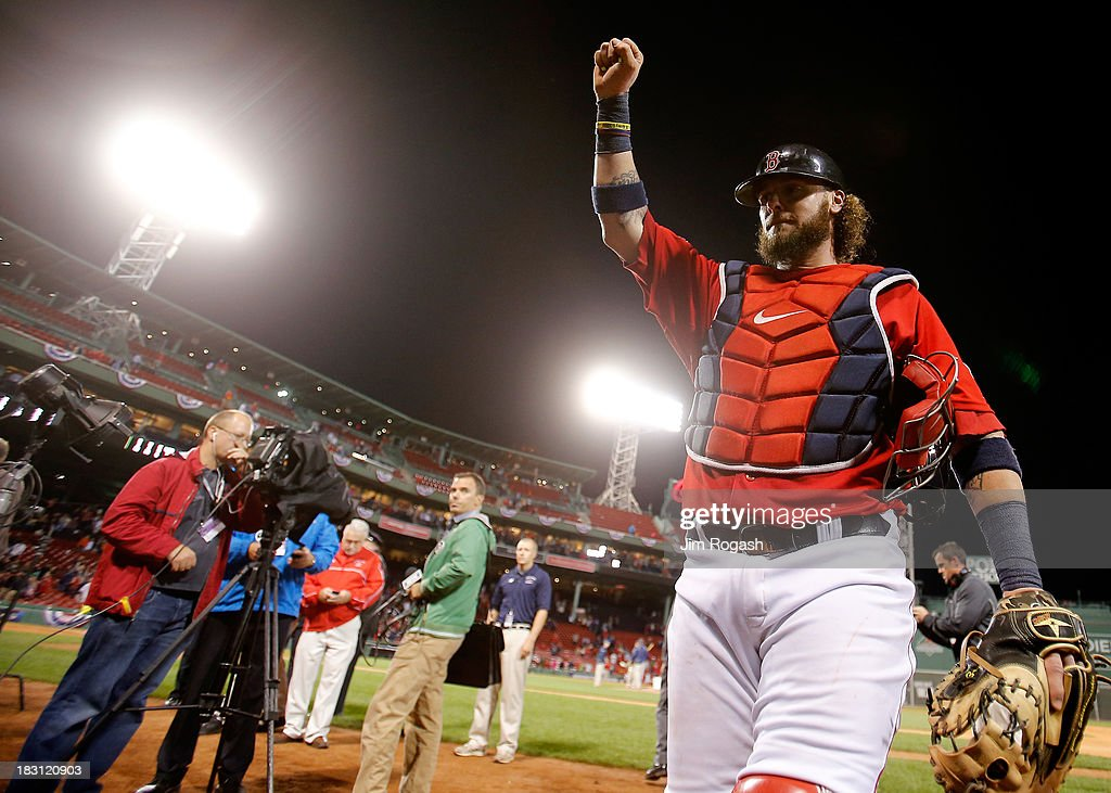 Jarrod Saltalamacchia #39 of the Boston Red Sox acknowledges the crowd after defeating the Tampa Bay Rays 12-2 in Game One of the American League Division Series at Fenway Park on October 4, 2013 in Boston, Massachusetts.