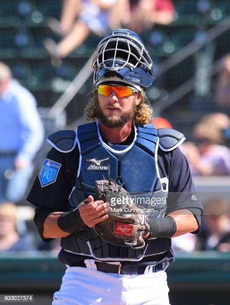 Jarrod Saltalamacchia of the Detroit Tigers looks on during the Spring Training game against the Philadelphia Phillies at Publix Field at Joker...
