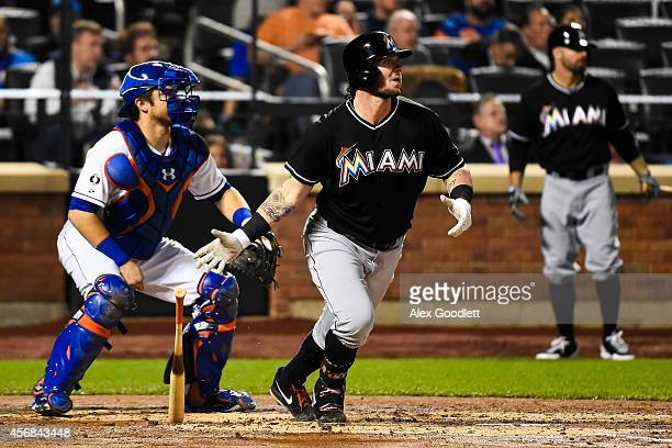 Jarrod Saltalamacchia of the Miami Marlins watches a hit during a game against the New York Mets on September 16 2014 at Citi Field in the Flushing...