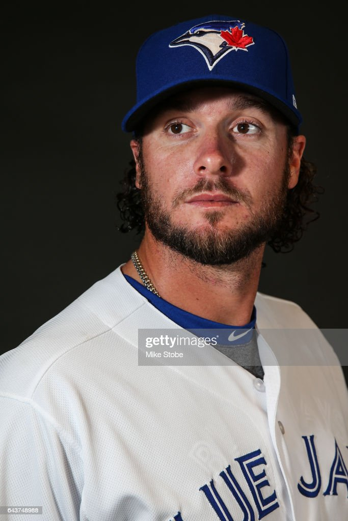 Jarrod Saltalamacchia #10 of the Toronto Blue Jays poses for a portait during a MLB photo day at Florida Auto Exchange Stadium on February 21, 2017 in Sarasota, Florida.