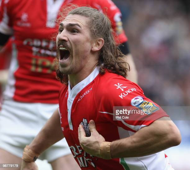 Jarrod Sammut of Crusaders RL celebrates his try against Bradford Bulls during the Engage Rugby Super League Magic Weekend match between Bradford...