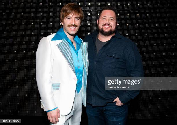 Jarrod Spector and Chaz Bono backstage at The Cher Show on Broadway at the Neil Simon Theatre on January 5 2019 in New York City