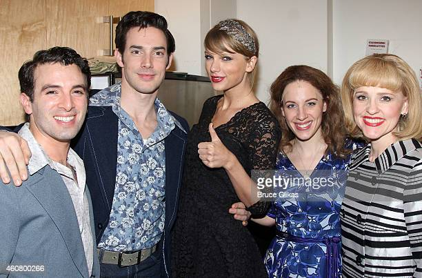 Jarrod Spector as Barry Mann Scott J Campbell as Gerry Goffin Taylor Swift Jessie Mueller as Carole King and Anika Larsen as Cynthia Weil pose...