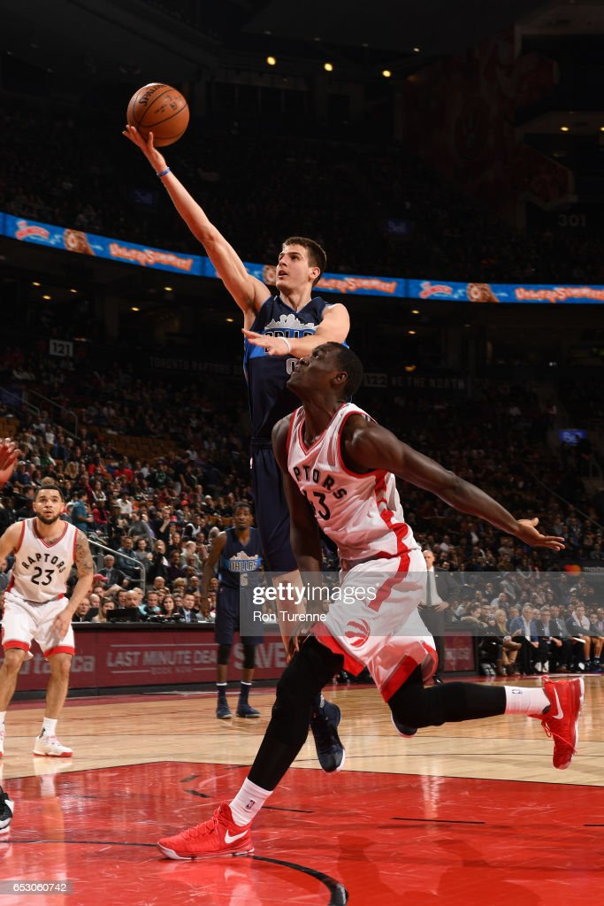 Jarrod Uthoff #19 of the Dallas Mavericks goes to the basket against the Toronto Raptors on March 13, 2017 at the Air Canada Centre in Toronto, Ontario, Canada.