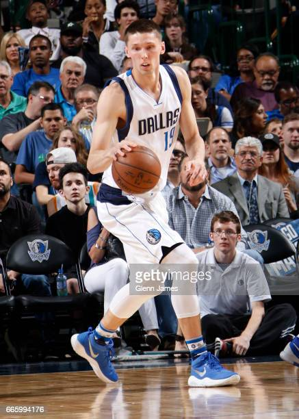 Jarrod Uthoff of the Dallas Mavericks handles the ball against the San Antonio Spurs during the game on April 7 2017 at the American Airlines Center...