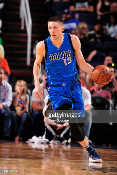 Jarrod Uthoff of the Dallas Mavericks handles the ball against the Phoenix Suns on April 9 2017 at Talking Stick Resort Arena in Phoenix Arizona NOTE...