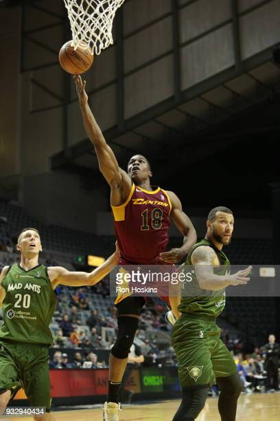 Jarrod Uthoff of the Fort Wayne Mad Ants battles Gerald Beverly of the Canton Charge on March 16 2018 at Memorial Coliseum in Fort Wayne Indiana NOTE...