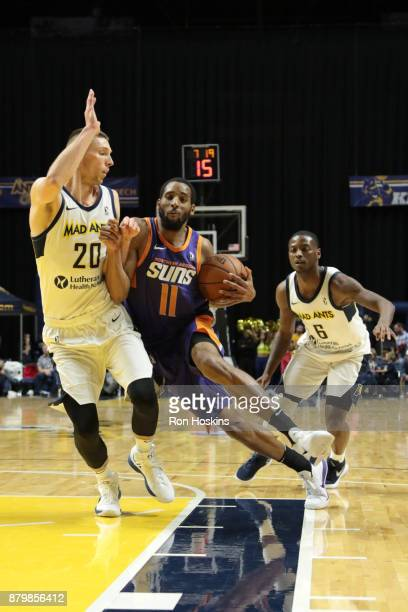 Jarrod Uthoff of the Fort Wayne Mad Ants battles Rahlir HollisJefferson of the Northern Arizona Sunns during their NBDL game at Memorial Coliseum on...