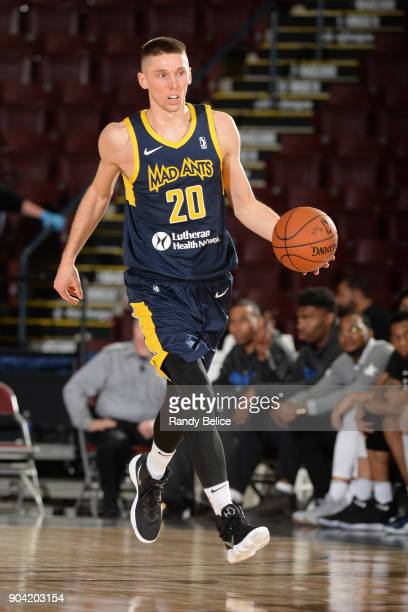 Jarrod Uthoff of the Fort Wayne Mad Ants dribbles the ball against the Oklahoma City Blue during the NBA GLeague Showcase on January 11 2018 at the...