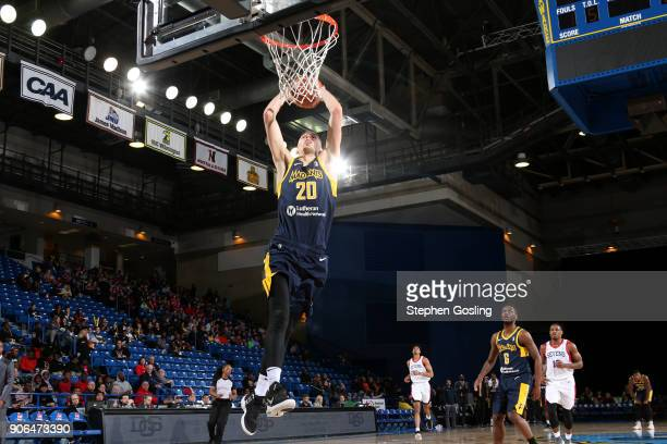 Jarrod Uthoff of the Fort Wayne Mad Ants drives to the basket against the Delaware 87ers during a GLeague at the Bob Carpenter Center in Newark...