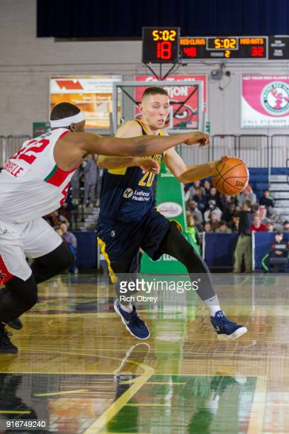 Jarrod Uthoff of the Fort Wayne Mad Ants handles the ball against the Maine Red Claws during the NBA GLeague on February 10 2018 at the Portland Expo...
