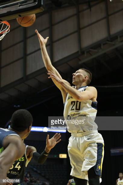 Jarrod Uthoff of the Fort Wayne Mad Ants shoots over a Iowa Wolves defender on February 25 2018 at Memorial Coliseum in Fort Wayne Indiana NOTE TO...