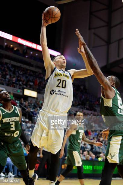 Jarrod Uthoff of the Fort Wayne Mad Ants shoots over Cliff Alexander of the Wisconsin Herd on February 1 2018 at Memorial Coliseum in Fort Wayne...