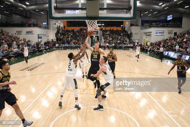 Jarrod Uthoff of the Fort Wayne Mad Ants shoots the ball against Wisconsin Herd on FEBRUARY 21 2018 at the Menominee Nation Arena in Oshkosh...