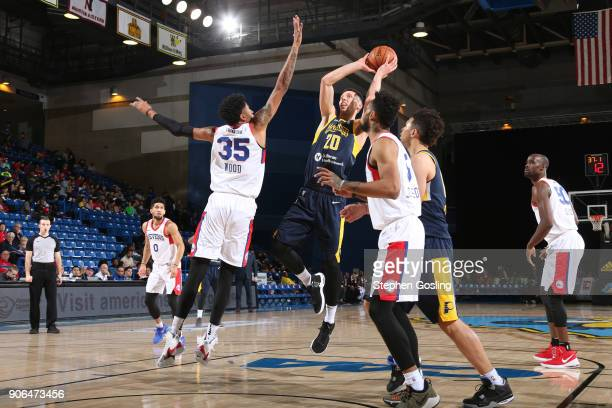 Jarrod Uthoff of the Fort Wayne Mad Ants shoots the ball against the Delaware 87ers during a GLeague at the Bob Carpenter Center in Newark Delaware...