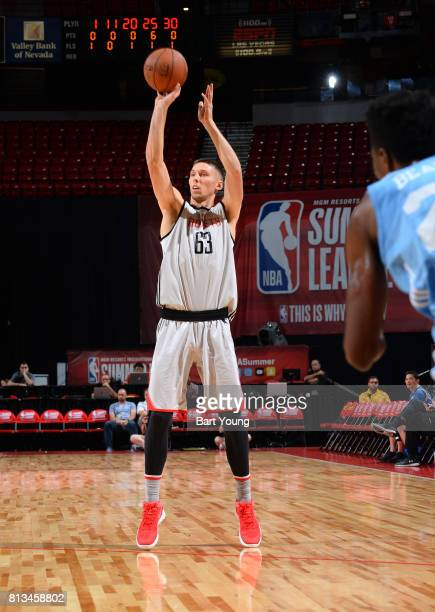 Jarrod Uthoff of the Houston Rockets passes the ball against the Denver Nuggets during the 2017 Summer League on July 12 2017 at the Thomas Mack...