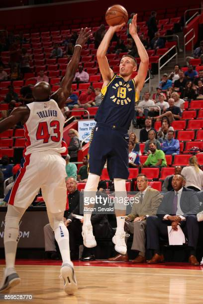Jarrod Uthoff of the Indiana Pacers shoots the ball against the Detroit Pistons on October 9 2017 at Little Caesars Arena in Detroit Michigan NOTE TO...