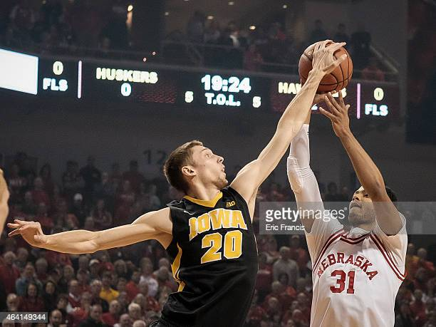 Jarrod Uthoff of the Iowa Hawkeyes blocks the shot of Shavon Shields of the Nebraska Cornhuskers during their game at Pinnacle Bank Arena February 22...