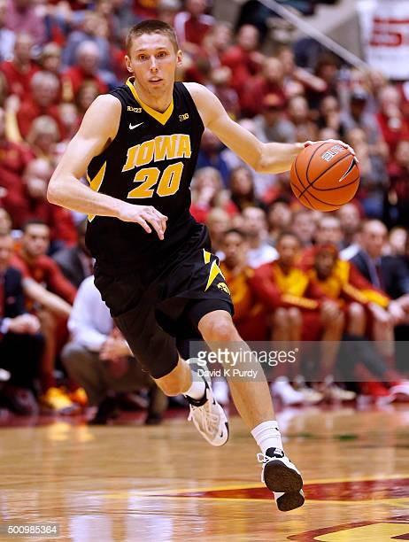 Jarrod Uthoff of the Iowa Hawkeyes drives the ball in the second half of play against the Iowa State Cyclones at Hilton Coliseum on December 10 2015...