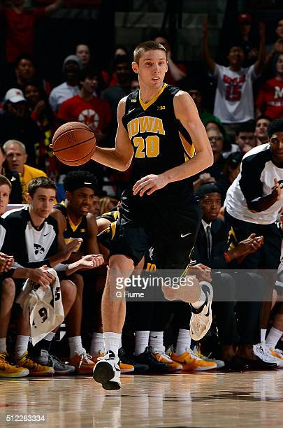 Jarrod Uthoff of the Iowa Hawkeyes handles the ball against the Maryland Terrapins at Xfinity Center on January 28 2016 in College Park Maryland