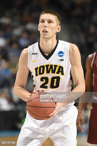 Jarrod Uthoff of the Iowa Hawkeyes takes a foul shot during the first round of the 2016 NCAA Men's Basketball Tournament against the Temple Owls at...