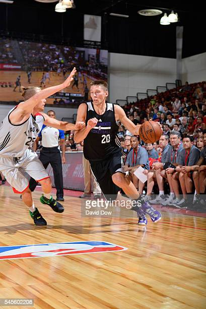 Jarrod Uthoff of the Sacramento Kings drives to the basket against the Toronto Raptors during the 2016 Las Vegas Summer League on July 8 2016 at Cox...