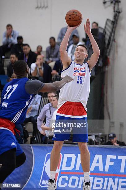 Jarrod Uthoff puts up a shot over Ben Bentil during the 2016 NBA Draft Combine on May 12 2016 at the Quest Multisport in Chicago Illinois NOTE TO...
