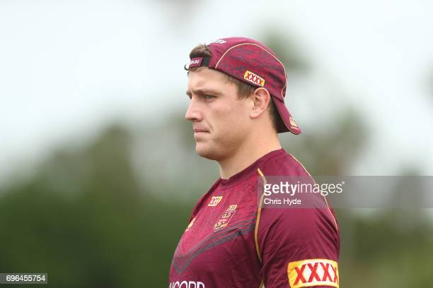 Jarrod Wallace looks on during the Queensland Maroons State of Origin team during a training session at Intercontinental Sanctuary Cove Resort on...