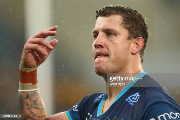 Jarrod Wallace of the Titans is sent off during the round 25 NRL match between the Gold Coast Titans and the New Zealand Warriors at Cbus Super...