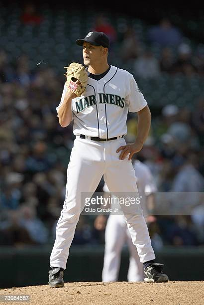 Jarrod Washburn of the Seattle Mariners spits on the mound during the game against the Minnesota Twins on April 19 2007 at Safeco Field in Seattle...