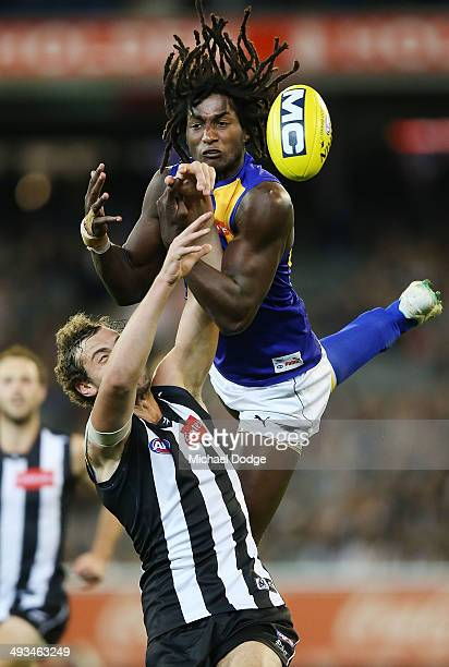 Jarrod Witts of the Magpies and Nic Naitanui of the Eagles compete for the ball during the round 10 AFL match between the Collingwood Magpies and...