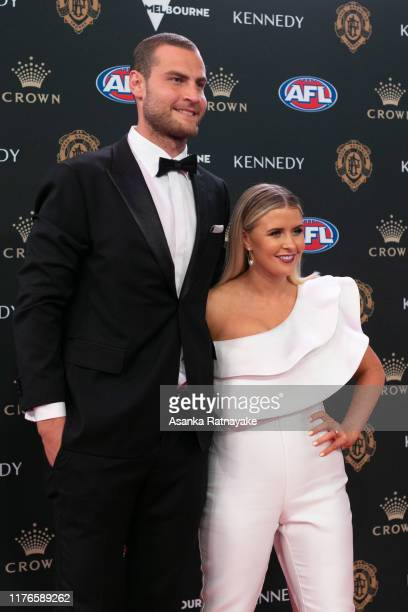 Jarrod Witts of the Suns and his partner Renee Nurse arrives ahead of the 2019 Brownlow Medal at Crown Palladium on September 23 2019 in Melbourne...