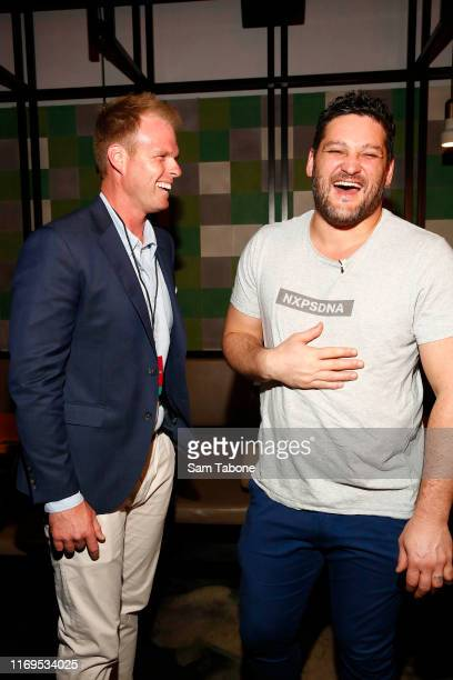 Jarrod Woodgate and Brendan Fevola attend the Fox FM Thank U Ex Singles Party on August 22 2019 in Melbourne Australia