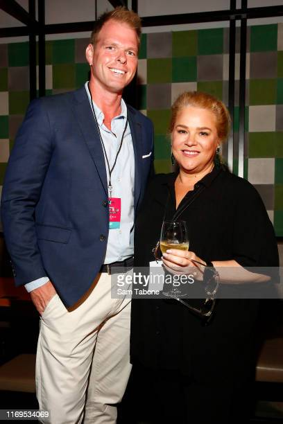 Jarrod Woodgate and Yvie Jones attend the Fox FM Thank U Ex Singles Party on August 22 2019 in Melbourne Australia
